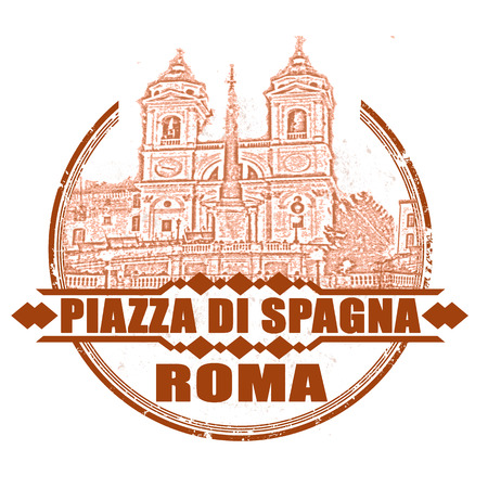 piazza di spagna grunge stamp with on vector illustration