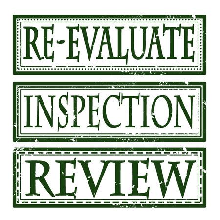 inspeccion: reevaluar opini�n inspecci�n grunge con sello de la ilustraci�n vectorial Vectores
