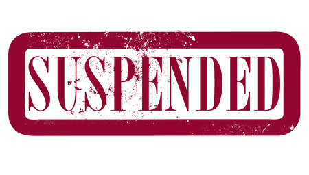 suspended: suspended grunge stamp whit on vector illustration Illustration