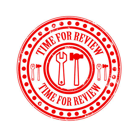 time for review grunge stamp with on vector illustration