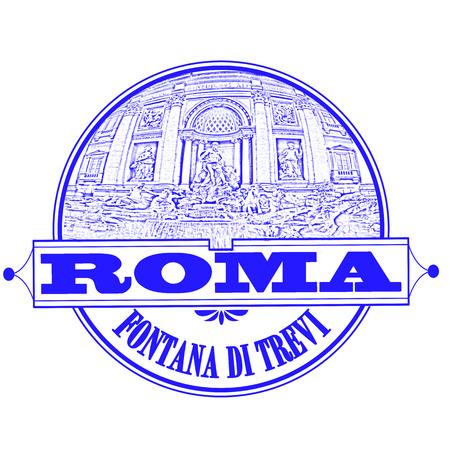 fontana: roma fontana di trevi grunge stamp with on vector illustration