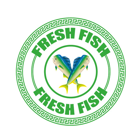 fresh fish grunge stamp with on vector illustration