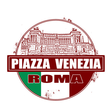 venezia: piazza venezia grunge stamp with on vector illustration Illustration
