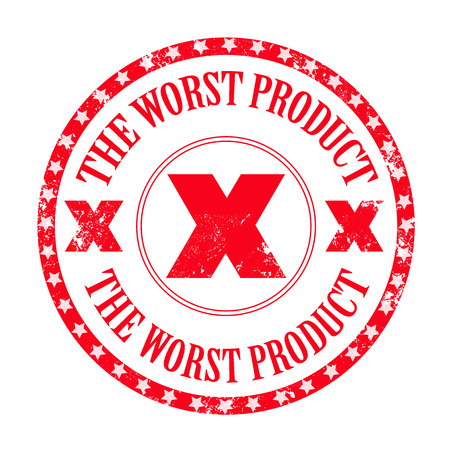 worst: the worst product grunge stamp with on vector illustration