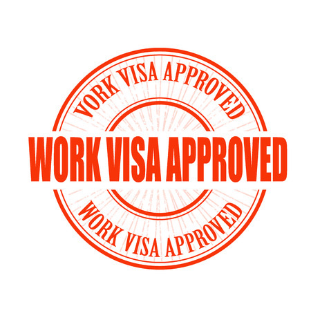 visa approved: work visa approved grunge stamp with on vector illustration Illustration