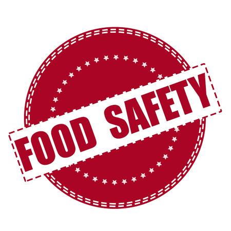 food safety: food safety grunge stamp with on vector illustration Illustration