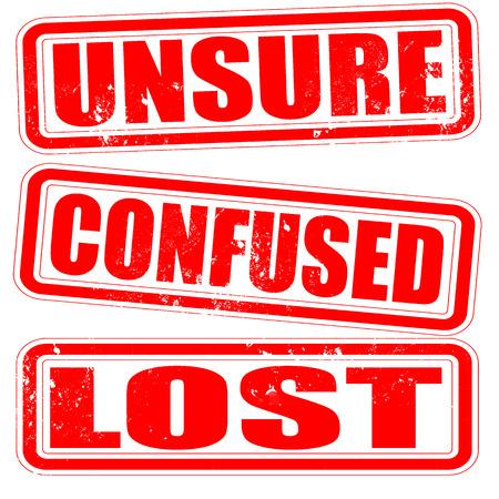 unsure: incerto confuso perso grunge timbro con su illustrazione vettoriale