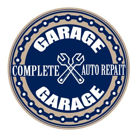 garage grunge stamp with on vector illustration
