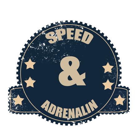 adrenaline: snelheid en adrenaline grunge stempel met op vector illustratie