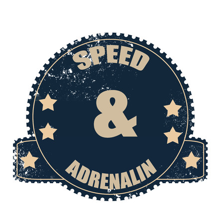 adrenalin: speed and adrenalin grunge stamp with on vector illustration Illustration