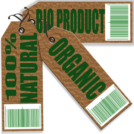set bio produc stamp with on illustration Vector