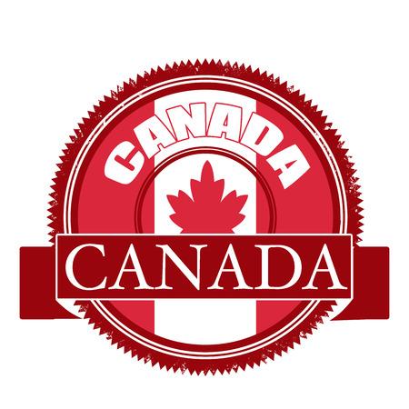 canada stamp: canada flag grunge stamp with on illustration Illustration