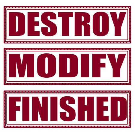 modyfikować: zniszczyć zestaw gotowych modyfikacji na ilustracji znaczek z