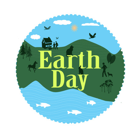 wather: earth day grunge stamp with on vector illustration
