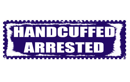 handcuffed: handcuffed arrested grunge stamp with on illustration