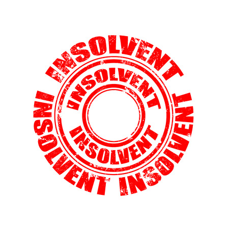 insolvent: insolvent grunge stamp with on illustration