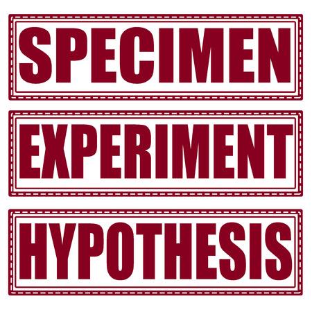 specimen: specimen experiment hypothesis set grunge stamp with on illustration