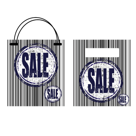 stiker: barcode shopping bag with sale stiker, illustration Illustration