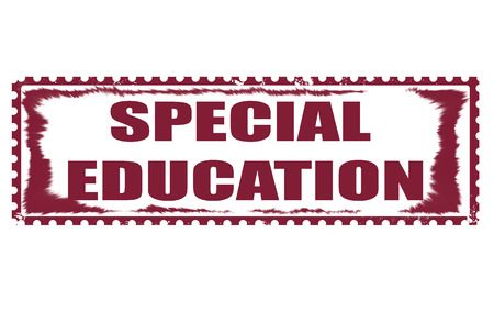 special education: special education grunge stamp with on illustration