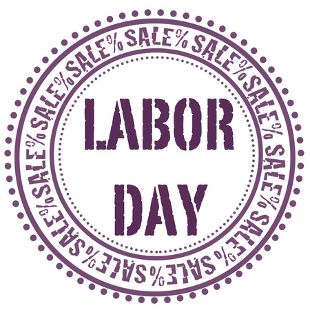 labor day grunge stamp with on vector illustration Vector