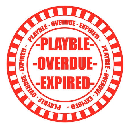 overdue: playble overdue expired grunge stamp with on vector illustration