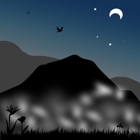 winter range: in mountain backgroun with on vector illustration