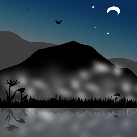 tranquil scene on urban scene: in mountain background with on vector illustration