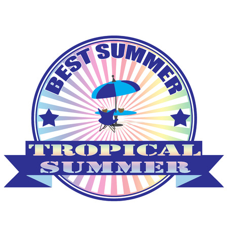 tropical summer grunge stamp with on vector illustration