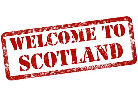 Üdvözöljük Scotland grunge bélyegző a vektoros illusztráció Illusztráció
