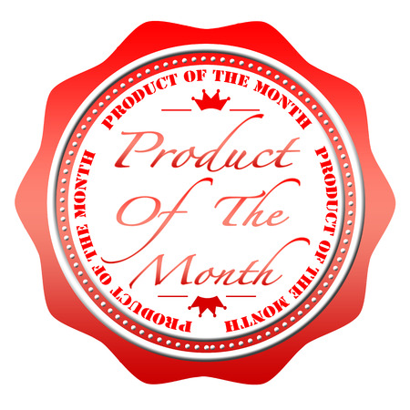 product of the month grunge stamp with on vector illustration