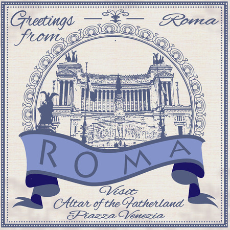 roma: greetings from roma background with vector illustration