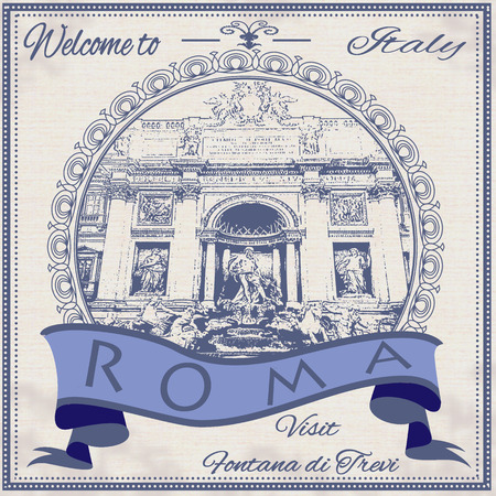 fontana: welcome to italy background with vector illustration