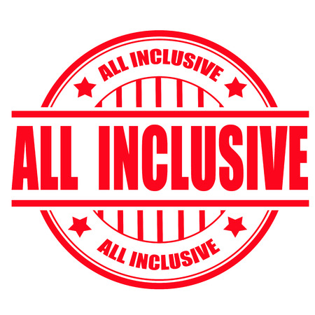 inclusive: all inclusive grunge stamp with on vector illustration
