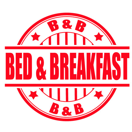 breakfast in bed: bed and breakfast grunge stamp with on vector illustration