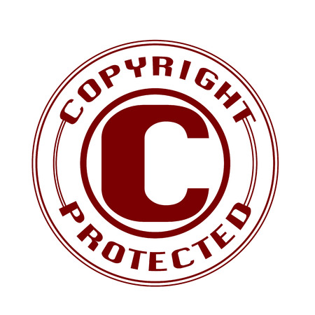 copyright protected grunge stamp with on vector illustration Vector