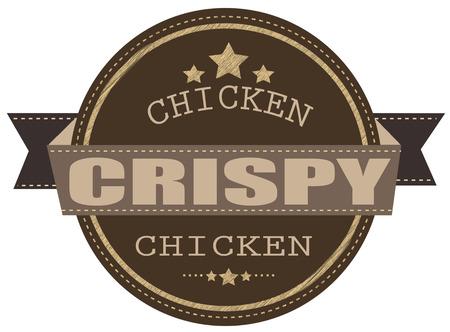 crispy: crispy chicken grunge stamp with on vector illustration