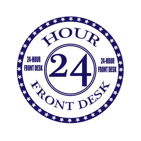 front desk: front desk grunge stamp with on vector illustration