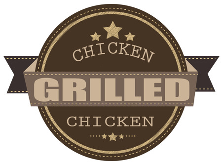 grilled chicken grunge stamp with on vector illustration Vector