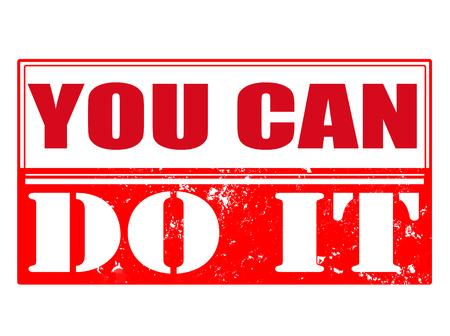 you can: usted puede hacerlo grunge con sello de la ilustraci�n vectorial Vectores