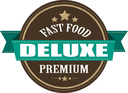 deluxe: fast food deluxe grunge stamp illustration