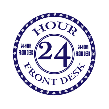 front desk: front desk grunge stamp illustration Illustration