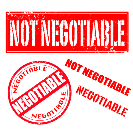 negotiable: not negotiable, negotiable set grunge stamp illustration