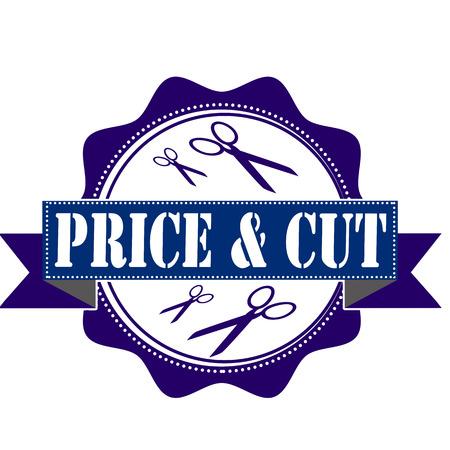 cut price: price and cut label stamp illustration