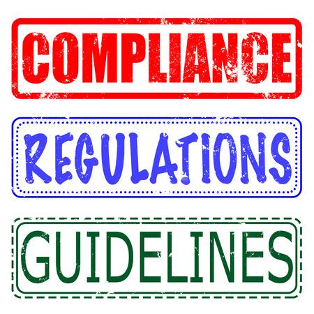 guidelines: compliance, regulations, guidelines set grunge stamp