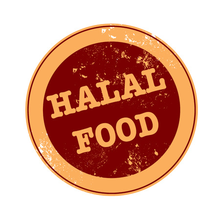 halal food grunge stamp  Vector