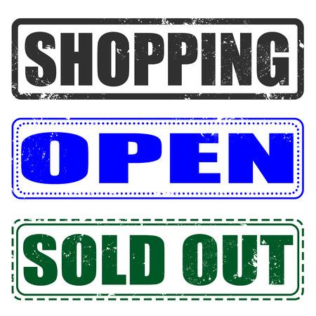 shopping , open , sold out set grunge stamp  Illustration