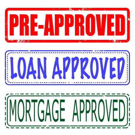 mortgage, loan, pre-approved set grunge stamp Illustration