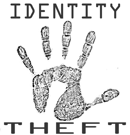 office theft: identity theft background stamp with on vector illustration