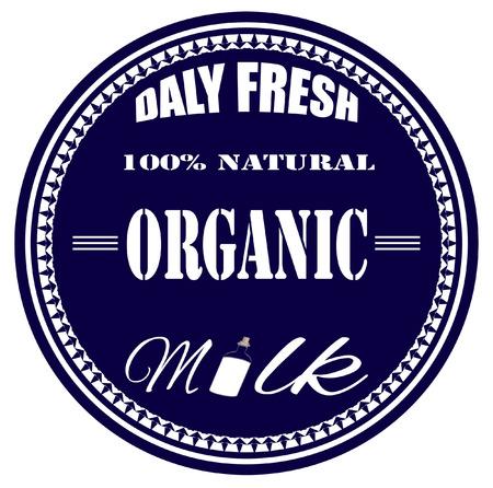 organik milk grunge stamp with on vector illustration Çizim