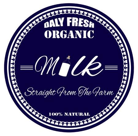 botle: organic milk grunge stamp with on vector illustration
